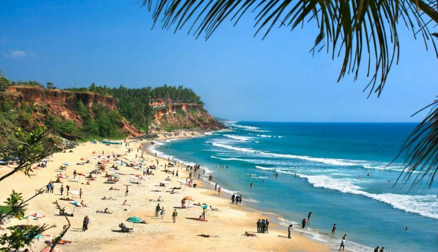Main beach in Varkala, Kerala